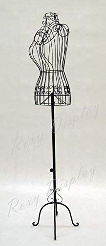 Female Metal Wire Dress Form (Black) - Adjustable Height Wire Frame Dress Form Display Stand - Antique Metal Base (XY2302B-TY)