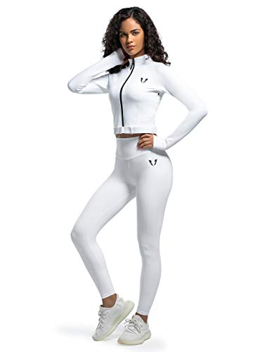 Firm ABS Women's Fitness Jacket Active Slim Fit Full Zip with Thumb Holes Running Workout Outdoor (White, M)