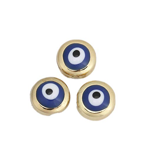 JGFinds Evil Eye Spacer Bead Charms - 10 Pack of Blue/Gold Tone Jewelry Making Supplies (Blue)