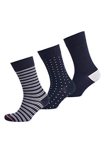 Superdry Herren City Socken aus Bio-Baumwolle im 3er-Pack Marineblau Gestreift/Marineblau Getupft/Marineblau M/L