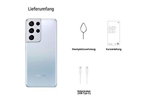 Samsung Galaxy S21 Ultra 5G, Android Smartphone ohne Vertrag, Quad-Kamera, Infinity-O Display, 128 GB Speicher, leistungsstarker Akku, Phantom Silver