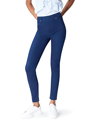 find. Damen Jeggings mit Stretch-Bund und Nieten, Blau (Mid Wash), M