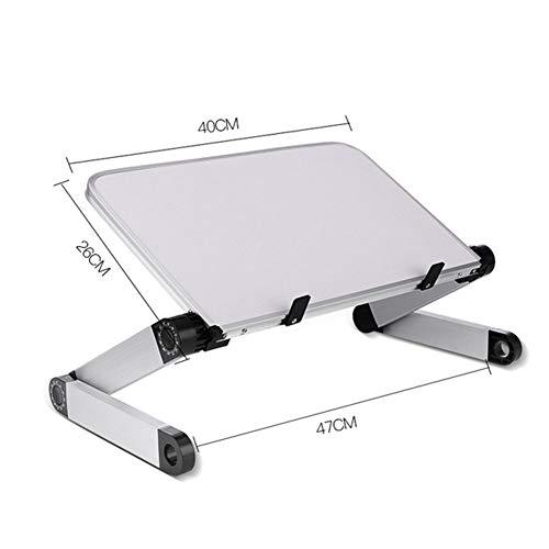 YYSM Ajustable de Escritorio portátil para la Cama del sofá, ergonómico Altura ángulo de inclinación Bandeja de Escritorio de Aluminio, Portátil Riser Tabla Ordenador,Blanco