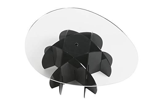 EMPORIUM Tavolino in metacrilato, Particolari di Fissaggio in Acciaio. Disponibile nelle Versioni: Base Nera e ripiano Trasparente Base Satinata e ripiano Trasparente