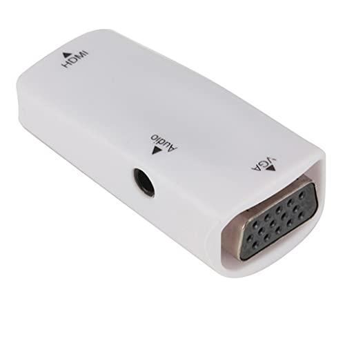 PFDTS Mini HDMI Hembra A VGA Adaptador 1080P FHD Audio Video HD2VGA Convertidor Para PC Laptop HDTV Proyector De Computadora (Color : White, Size : One size)