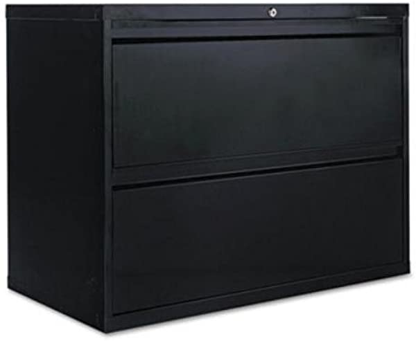 Alera Products Alera Two Drawer Lateral File Cabinet 36w X 19 1 4d X 29h Black Sold As 1 Each 19 1 4quot Deep Drawers With Side To Side Hang Rails To Accommodate Letter Legal Hanging Files Full Drawer Extension On Steel Ball Bearing Telescoping Slide Suspension Reinforced Double Wall Drawer Fronts Provide Extra Stability Stylish Full Width Recessed Pulls Anti Tipping Interlock System Allows Only One Drawer To Open At A Time