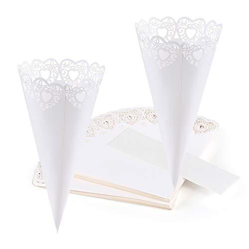 GWHOLE 100 pz Coni Portariso Cuore Bianco Portaconfetti Scatoline Bomboniere Coni di Coriandoli a Forma di Cuore Tagliati a Laser per Matrimonio Nozze con Autoadesivo