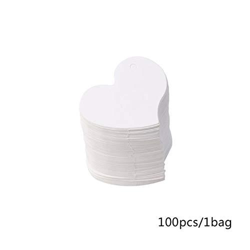 YUIO® 100 pièces étiquettes-cadeaux en papier en forme de coeur 4.5 * 4Cm étiquettes volantes avec corde pour la fête de mariage de la Saint-Valentin (blanc (4.5x4cm))