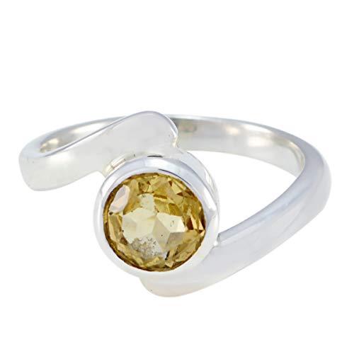 joyas plata gemas genuinas forma redonda una piedra anillo citrino facetado - anillo citrino amarillo plata 925 - nacimiento de junio géminis