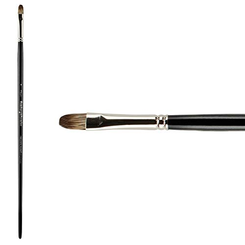 Creative Mark Artist Hamburg Premier Long Handle Paintbrush - Professional Quality Synthetic Blend Mongoose Hair Mimic - for Oil Paints, Acrylic, and Alkyds - Single, Size 8 Filbert