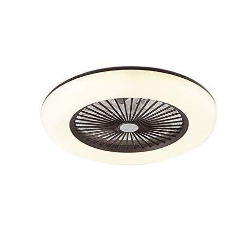 LANTING Lámpara de techo LED Ventilador de techo regulable con iluminación Luz de techo Ventilador silencioso Iluminación de techo redonda 36W Con control remoto Para dormitorio Ø60 * H20CM,Negro