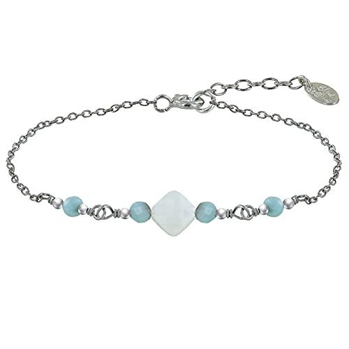 Schmuck Les Poulettes - Rhodium Silber Armband Quadratischer Pflasterstein Perlmutt und Vier Larimar Facetten Perlen