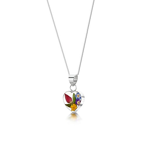 Sterling Silver Real Flower Pendant Necklace - Mixed Flowers - Heart - 18' chain included