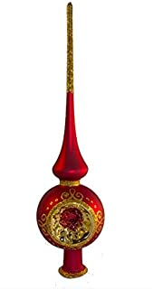 Christmas Tree Topper – Unique Collection of Blown Glass Xmas Tree Finials – Mouth-Blown, Hand-Painted Treetop Glass Season Decorations, Classic Christmas Tree Ornaments, 10 inch, Reflector Red
