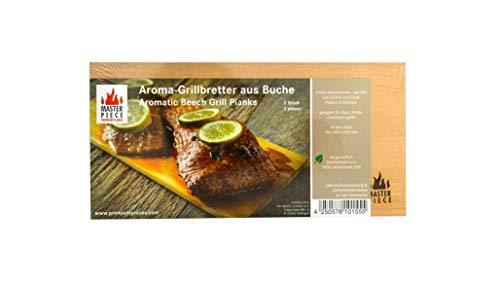 MASTER PIECE Select Buche 2 Grillbretter, 15mm starke Profi-Grillplanken Premium Qualität aus Buchenholz, Set à 2 Stk, BBQ Räucherbretter im günstigen 2er Pack