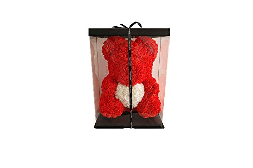 Ours en Rose Rouge avec Cœur Blanc – 35 cm De Hauteur – 25 cm De Largeur + Boite Happy Everyday – Saint Valentin, Mariage, Noël, Cadeau, Anniversaire, Fête des Mères