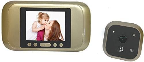 Lsmaa Smart-Projektor - 720P Video-Türklingel, Nachtsicht, 1/4 Zoll CMOS, 160 Grad-Objektiv, PIR, 3,2-Zoll-Display (Gold)