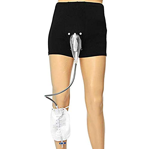 JL Wearable Inkontinenzhosen mit Sammeltasche Tragbar Auslaufsicheres Bein Pee Katheter für MäNner Urinalsystem,M