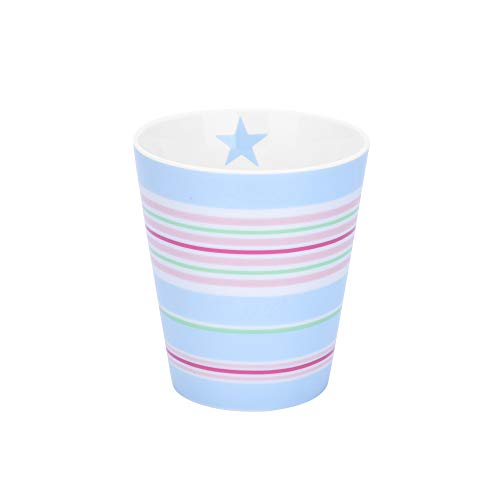 Krasilnikoff - Becher, Tasse - Happy Mug - Multi Stripes Blau - ca. 330 ml - Höhe: 10 cm