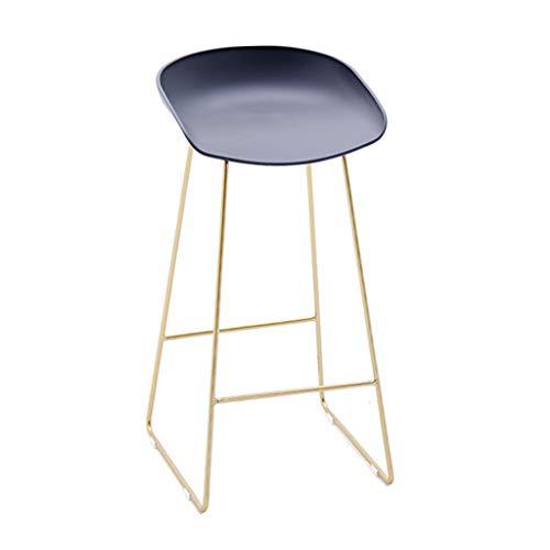 Tabouret de Bar Mode Fer Forgé Bar Tabouret Cuisine Petit Déjeuner Chaise Arrière Repose-Pieds Design Gris (Hauteur Assise: 75CM)