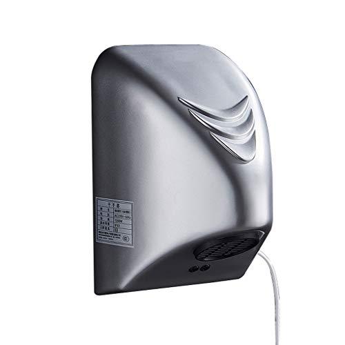 Secador de Manos automático inducción automática de Aire de Alta Velocidad 1800w Secador de Aire Auto Inteligente de inducción (Color : Silver)