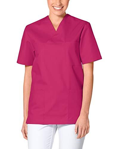 CLINIC DRESS Schlupfkasack - Unisex Kasack Damen und Herren bunt für Pflege und Altenpflege, Kurzarm und Brusttasche, 95 Grad Wäsche pink XXL