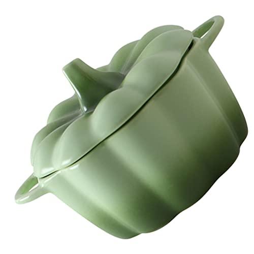 DOITOOL Forma di Zucca Zuppa Dessert Ciotola con Coperchio Piccolo in Ceramica Stufato Pentola con Coperchio A Vapore Ciotola di Minestra Fumante Tazza per La Cucina Uovo Crema Pasticcera