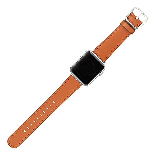 HENHEN Jun Store Reloj de Piel de Cuero Compatible con Apple Watch 38mm / 42mm Classic Genuine Cuero Sport Sport Correa para iWatch (40mm / 44mm) (Band Color : Brown, Band Width : 38 40mm)