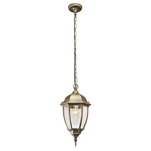 DeMarkt 804010401 Außen Pendelleuchte Garten Laterne Landhaus Rustikal Klassisch Bronze Aluminium Schwarz Gold Messing 1 Flammig IP44 1x100W E27 230V