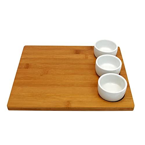 EH Excellent Houseware Kit di Servizio Snack, Vassoio in bambù e 3 Tazze