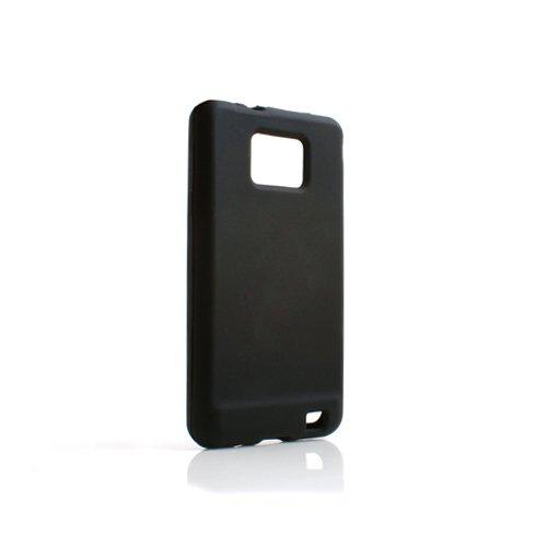 System-S Silikon Hülle Hülle Schutz Cover Skin Tasche in Schwarz für Samsung Galaxy S2 i9100