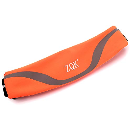 ZQK ランニングポーチ 極薄 超軽量 ウエストポーチ 防水 メンズ レディース ユニセックス イヤホン穴付き アウトドア、ジョギングに適しています (オレンジ)