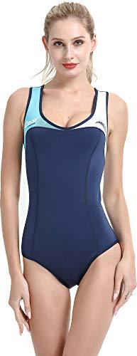 Cressi Damen DEA Swimming Wetsuit Neopren Badeanzug 1mm Neoprenanzug, Blau/Weiß/Hellblau, XS/1