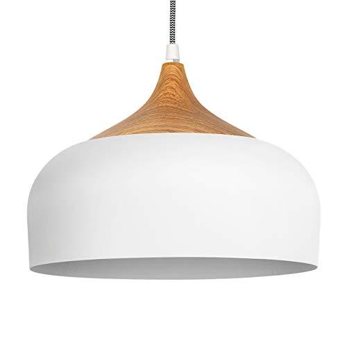 Tomons Lámpara de Techo, LED Lámpara Colgante Retro Vintage, para Bombillas E27, 30.5CM - Blanco