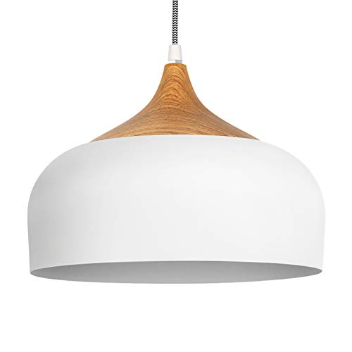 tomons Pendant Light Modern Lantern Lighting with LED Bulb, Wood Pattern Dome Minimalist Style Ceiling Hanging Lamp for Kitchen Island, Dining Room, Living Room, Bedroom, Coffee Bar - White