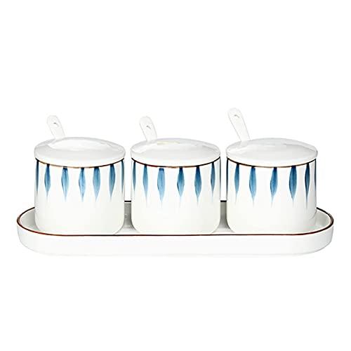 3 Pack Ceramic Spice Jar,Sugar Salt Container Set,handgeschilderde kruidendoos met porseleinen deksels,lepel en…