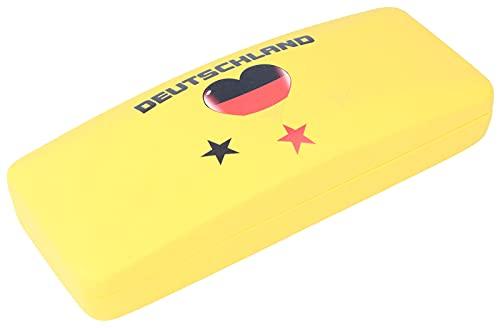 Funda para gafas deportiva, diseño de bandera alemana de fútbol y corazón con bisagra de metal (corazón amarillo)