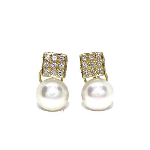 Pendientes para señora de oro amarillo de 18k con circonitas y perlas cultivadas de 10mm. Cierre omega. 1.60cm de altos