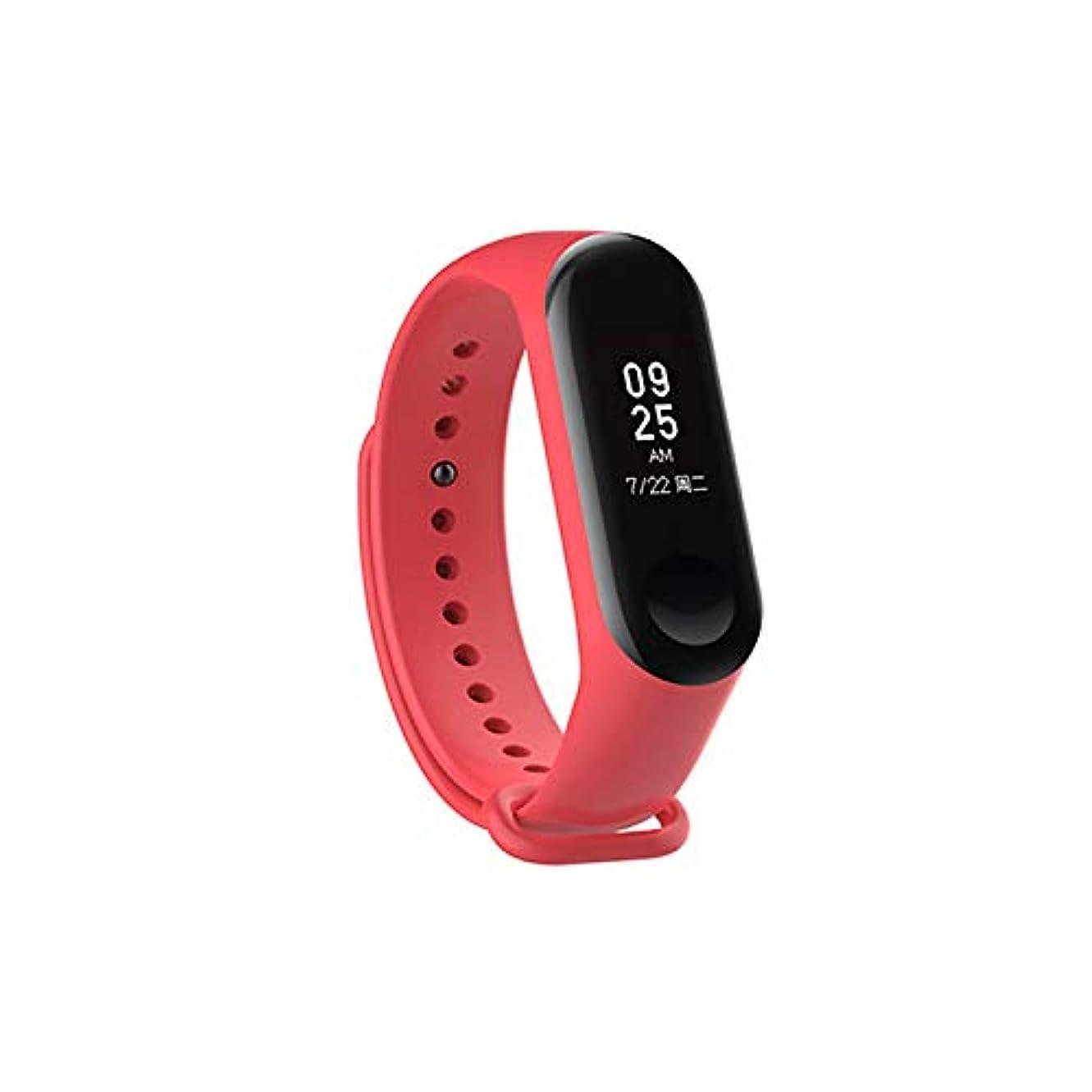 マッサージ比較的ウミウシACHICOO 手首ストラップ 時計バンド シリコンリストストラップ Mi3アクセサリー 交換 Xiaomi mi 3スマートブレスレット用(時計なし) 赤