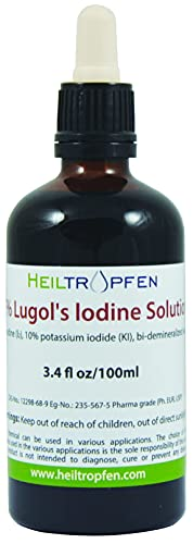 Lugols Iodine Solution 5% 3.4 Oz - 100 ml | 15% liquid formulation | 5 percent Iodine Supplement - Liquid Drops | Thyroid Support | Made with 5 Percent Iodine and 10% Potassium Iodide | Heiltropfen
