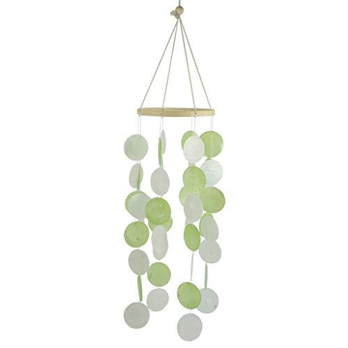 QIANGU Windspiel, Naturschalen Windspiele Schlafzimmer Balkon Zimmer Windspiele Gartendekorationen-Apfelgrün