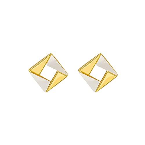 S925 plata de ley aguja cuadrados pequeños pendientes de personalidad concha de viento frío pendientes simples de moda para damas y niñas en forma de diamante