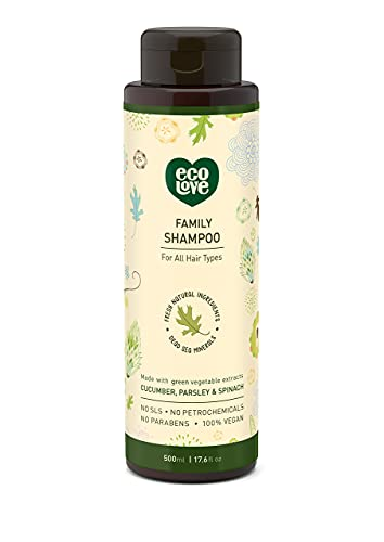 ecoLove - Natural and Organic Shampoo for All Hair Types - Organic Cucumber, Spinach & Parsley - No SLS, Parabens, or Petrochemicals - Vegan and Cruelty-Free Shampoo, 17.6 oz