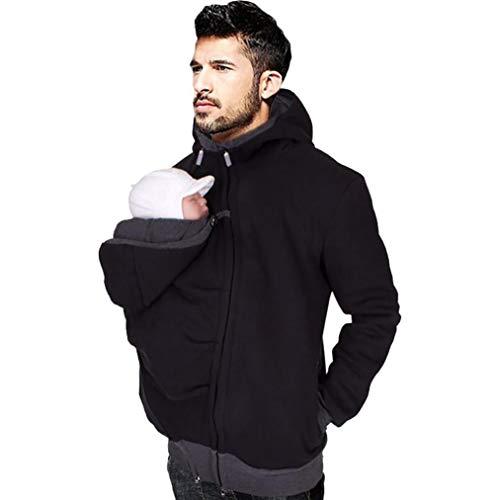 Marolaya Multi-Function Sweatshirt Hoodie Jacket Dad and Baby Carrier Coat Black