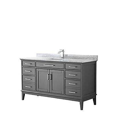 Margate 60 Inch Single Bathroom Vanity in Dark Gray, White Carrara Marble Countertop, Undermount Square Sink, and No Mirror