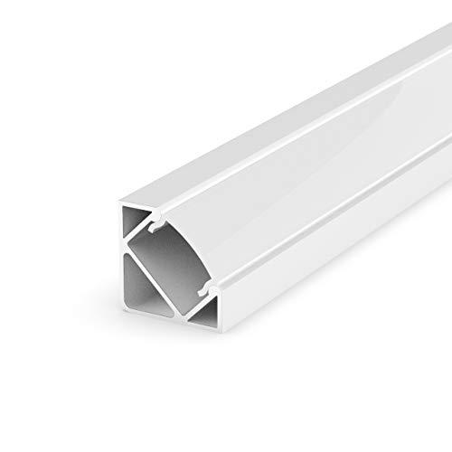 Preisvergleich Produktbild Set: LED Profil,  100cm Profil LED 45° für LED Streifen + Abdeckung LT3 (LT3P Weiss Milchig)