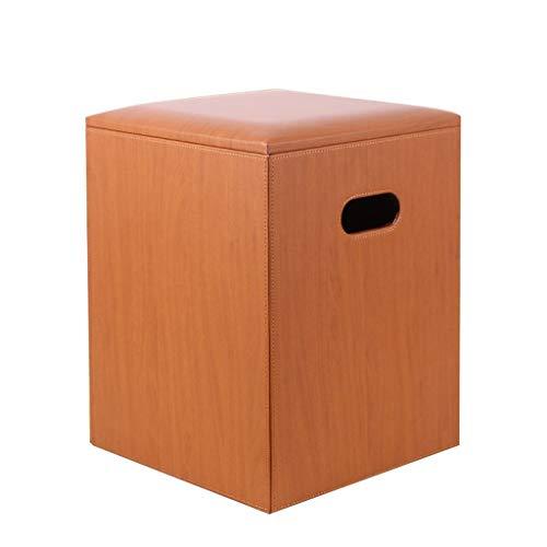 YULAN Taburete Hogar Sofá de Cuero Muelle Cuadrado Almacenaje Taburete Caja de Almacenamiento Mesa de Centro Taburete Zapato Banco Artesano Artesanía con Cuero (Color : Orange)