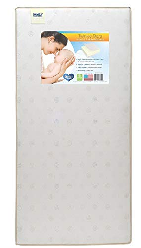 Delta Children Twinkle Stars Fiber Core Crib and Toddler Mattress | Waterproof | Lightweight | GREENGUARD Gold Certified (Natural/Non-Toxic) | Trusted 7 Year Warranty | Made in The USA