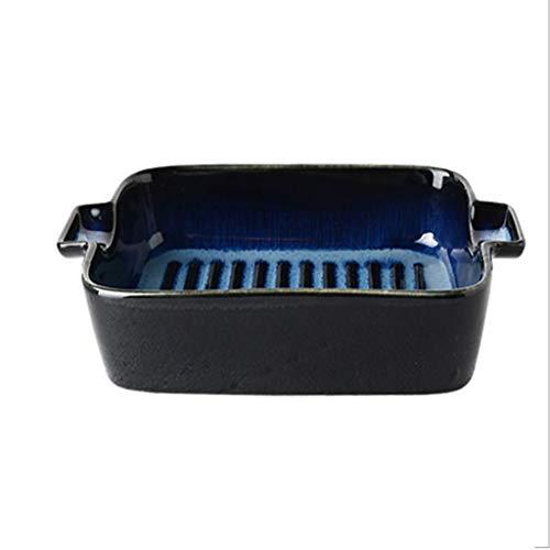 Fuente de Horno Bandeja para hornear de cerámica con doble asa Bandeja para hornear en el horno de microondas Bandeja para hornear Creativo Sencillo Risotto de cocina Fuente para Lasaña