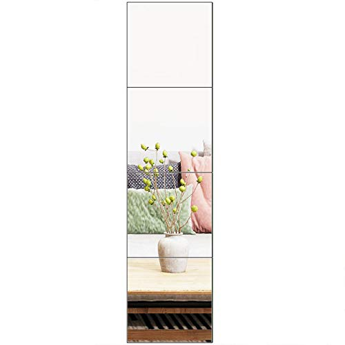 Ruomeng Full Length Mirror Tiles - 12 Inch x 4Pcs Frameless Wall Mirror Set Make Up Mirror for Vanity Bedroom, Living Room